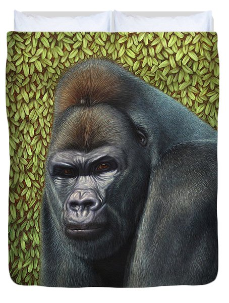 Gorilla with a Hedge Duvet Cover by James W Johnson