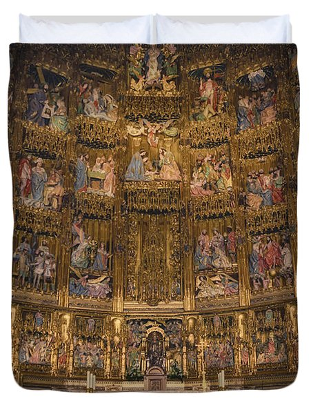 Gothic Altar Screen Duvet Cover by Joan Carroll