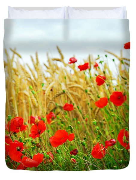 Grain and poppy field Duvet Cover by Elena Elisseeva