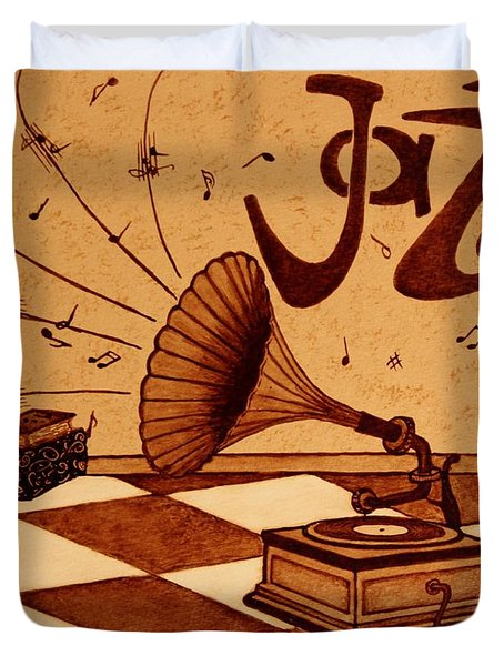 Gramophone Playing Jazz Music Painting With Coffee Duvet Cover by Georgeta  Blanaru