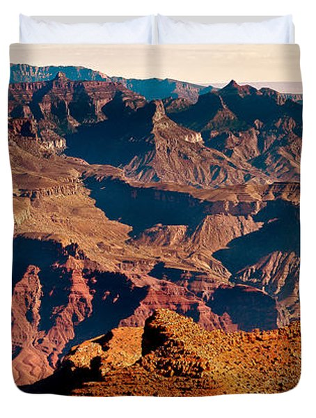 Grand Canyon Navajo Point Panorama At Sunrise Duvet Cover by Bob and Nadine Johnston