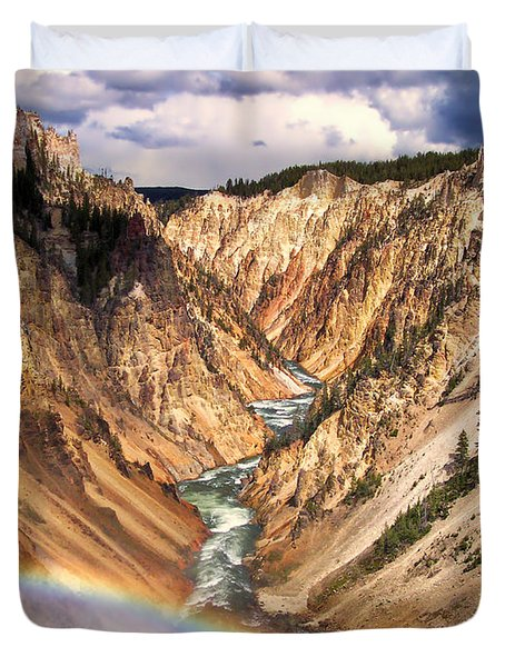 Grand Canyon of Yellowstone 1 Duvet Cover by Thomas Woolworth