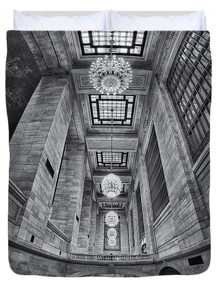 Grand Central Corridor Bw Duvet Cover by Susan Candelario