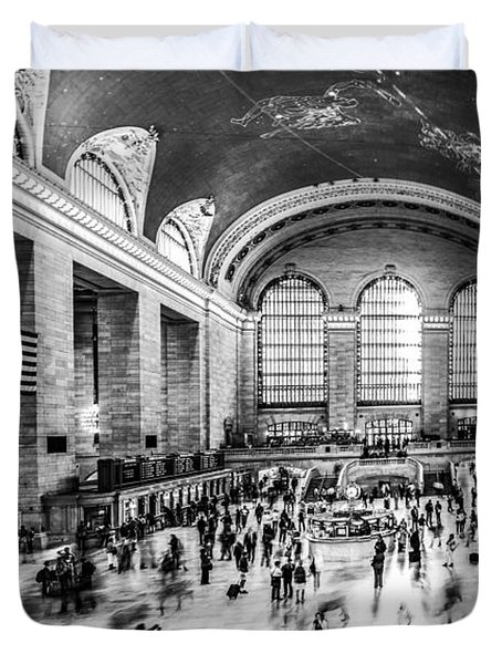 Grand Central Station -pano Bw Duvet Cover by Hannes Cmarits