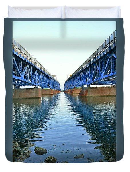 Grand Island Bridges Duvet Cover by Kathleen Struckle