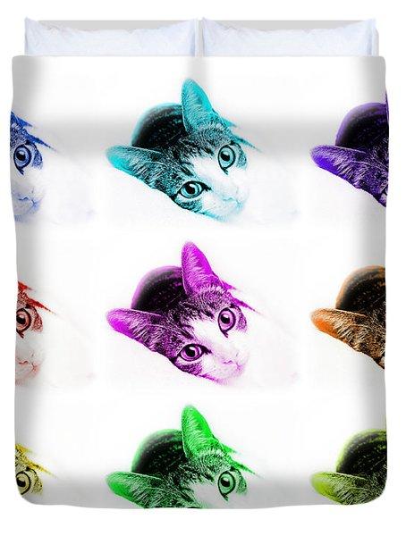 Grand Kitty Cuteness 3 Pop Art 9 Duvet Cover by Andee Design