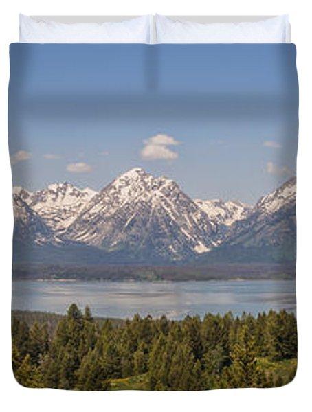Grand Tetons Over Jackson Lake Panorama Duvet Cover by Brian Harig