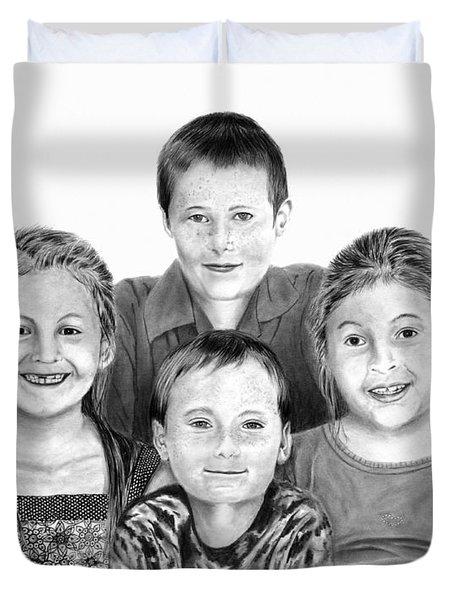Grandchildren Portrait Duvet Cover by Peter Piatt