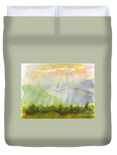 Grandma Cohen Rays Duvet Cover by Walt Brodis