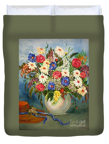 Grandma's Hat And Bouquet Duvet Cover by Janice Rae Pariza