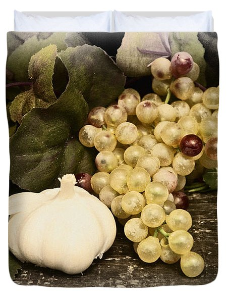 Grapes And Garlic Duvet Cover by Bill Cannon