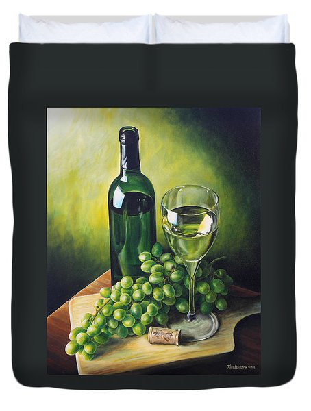 Grapes And Wine Duvet Cover by Kim Lockman