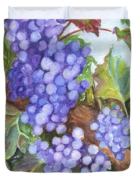 Grapes For The Harvest Duvet Cover by Carol Wisniewski
