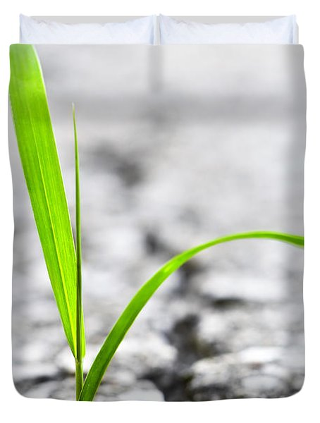 Grass In Asphalt Duvet Cover by Elena Elisseeva