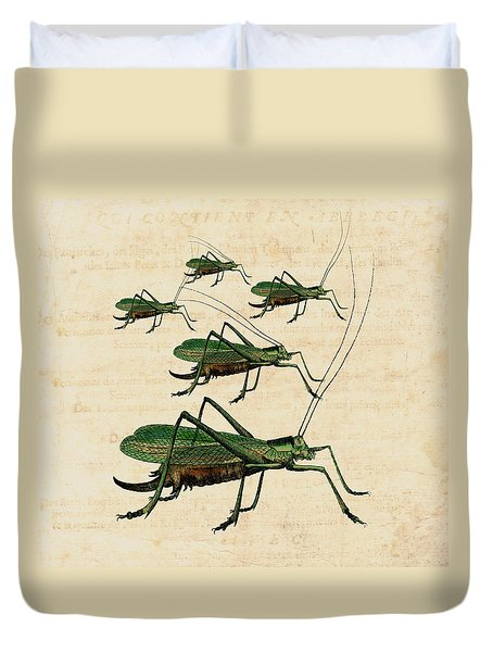 Grasshopper Parade Duvet Cover by Antique Images