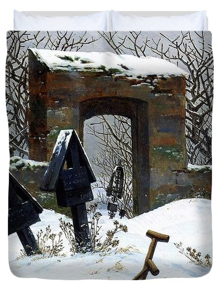 Graveyard Under Snow Duvet Cover by Philip Ralley