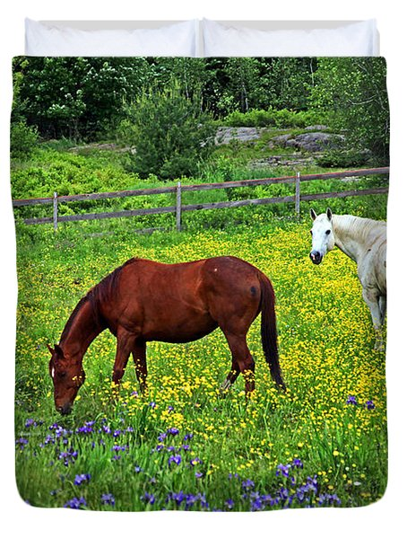 Grazing Amongst The Wildflowers Duvet Cover by Karol Livote