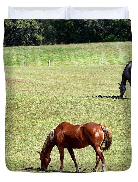 Grazing Horses Duvet Cover by John Greim