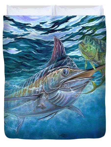 Great Blue And Mahi Mahi Underwater Duvet Cover by Terry Fox
