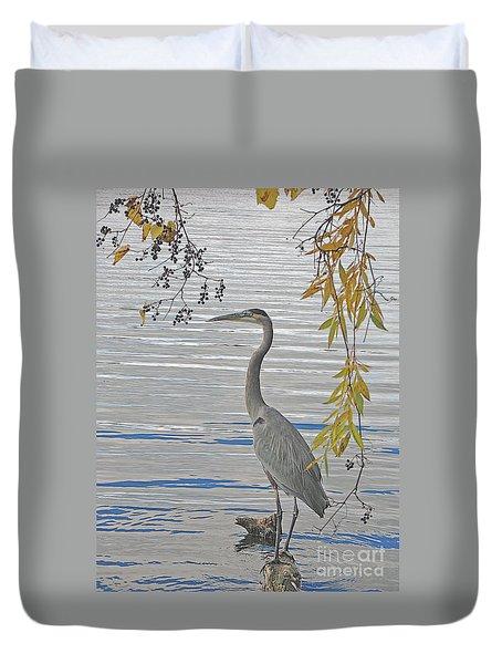 Great Blue Heron Duvet Cover by Ann Horn