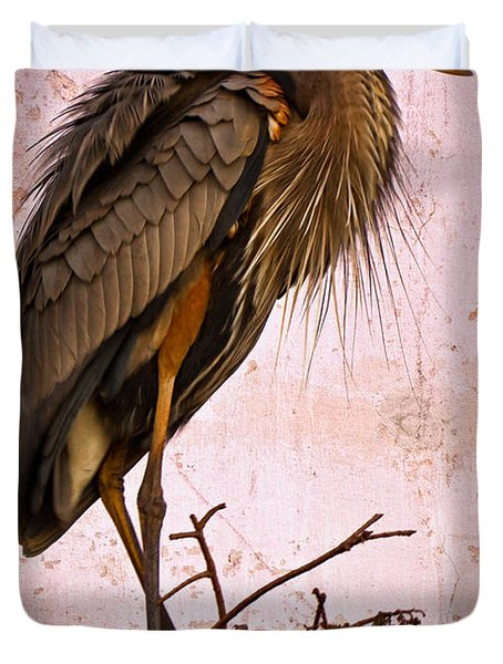 Great Blue Heron Duvet Cover by Debra and Dave Vanderlaan