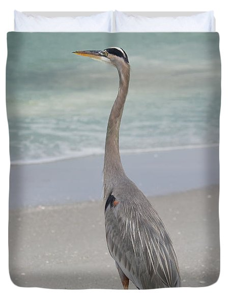 Great Blue Heron Duvet Cover by Kim Hojnacki