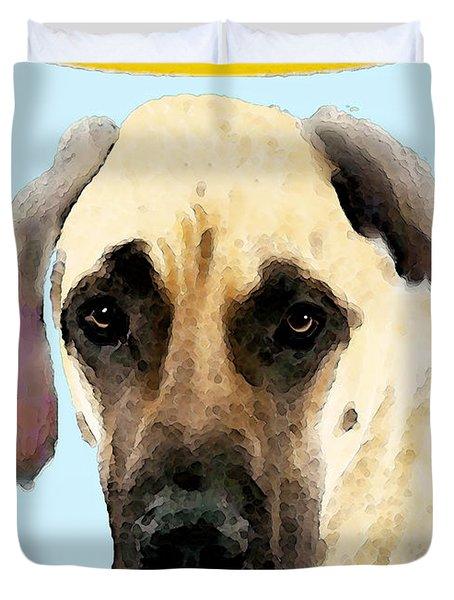 Great Dane Art - I Didn't Do It Duvet Cover by Sharon Cummings