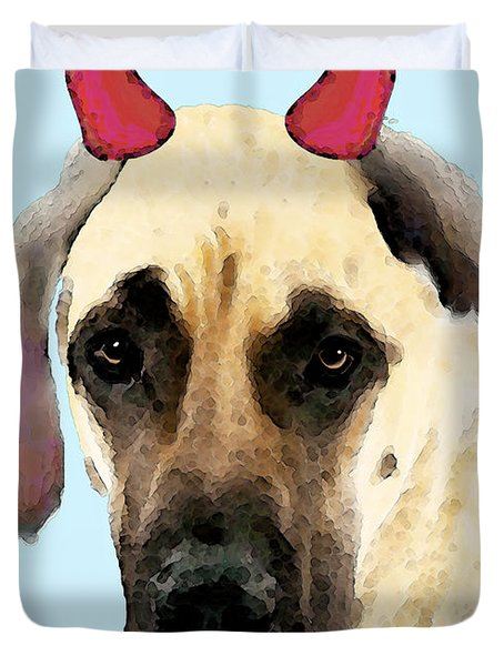 Great Dane Art - Ok Maybe I Did Duvet Cover by Sharon Cummings