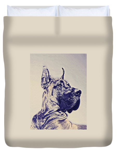 great dane- blue sketch Duvet Cover by Jane Schnetlage