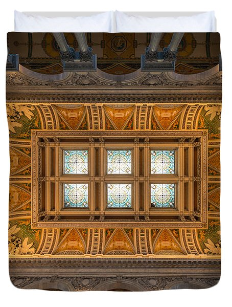 Great Hall Ceiling Library Of Congress Duvet Cover by Steve Gadomski