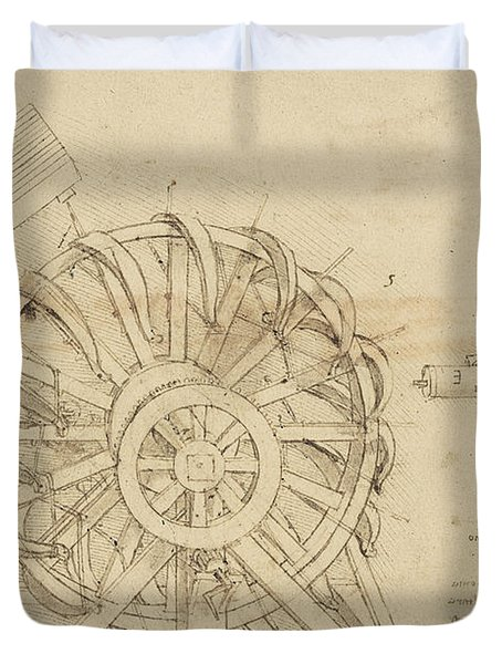 Great Sling Rotating On Horizontal Plane Great Wheel And Crossbows Devices From Atlantic Codex Duvet Cover by Leonardo Da Vinci