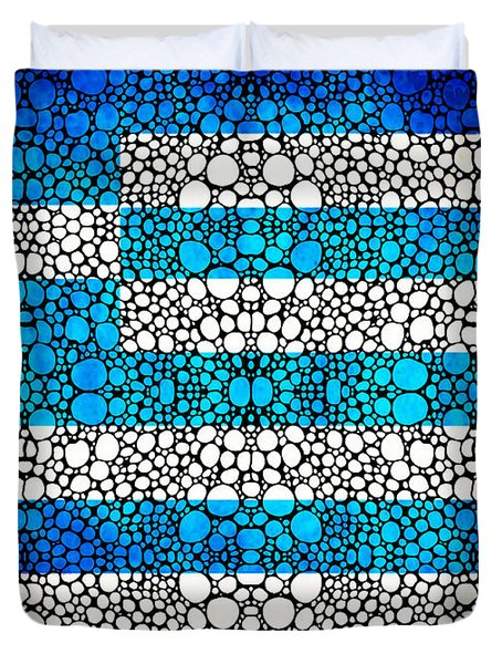 Greek Flag - Greece Stone Rock'd Art By Sharon Cummings Duvet Cover by Sharon Cummings