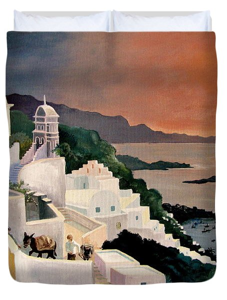 Greek Isles Duvet Cover by Marilyn Smith