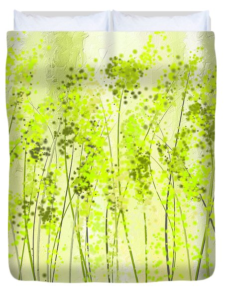 Green Abstract Art Duvet Cover by Lourry Legarde