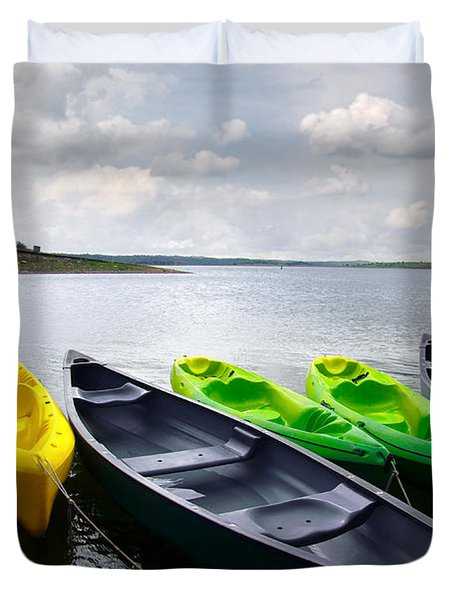 Green and yellow kayaks Duvet Cover by Carlos Caetano