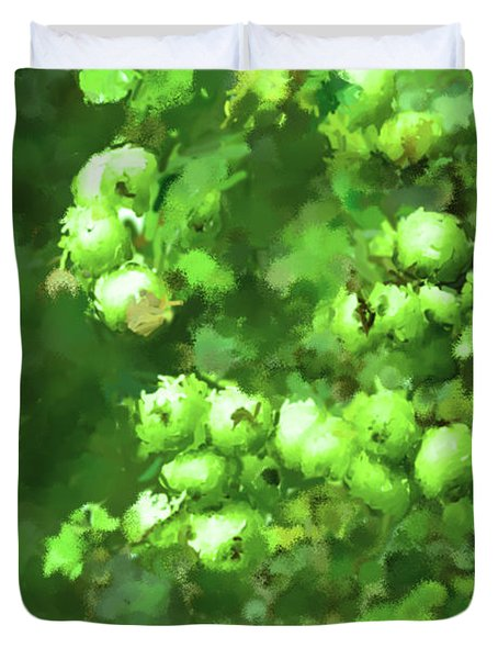 Green Apple On A Branch Duvet Cover by Toppart Sweden