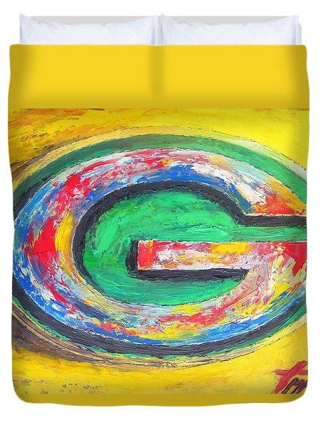 Green Bay Packers Football Duvet Cover by Dan Haraga