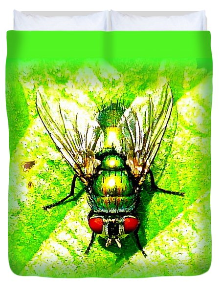 Green Bottle Fly Duvet Cover by The Creative Minds Art and Photography