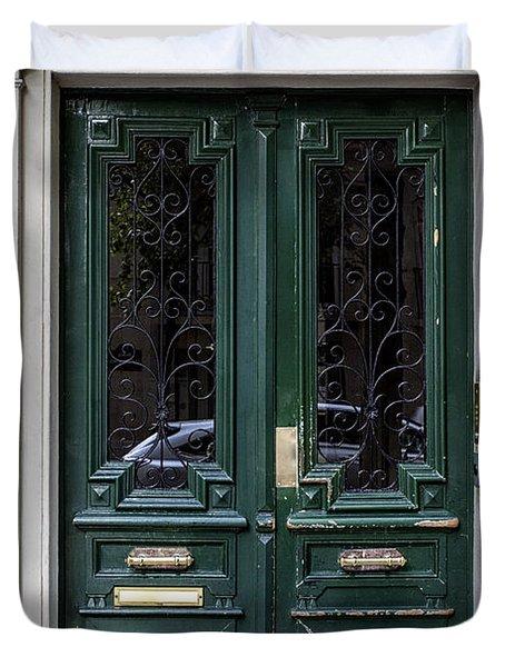Green Door In Paris Duvet Cover by Nomad Art And  Design