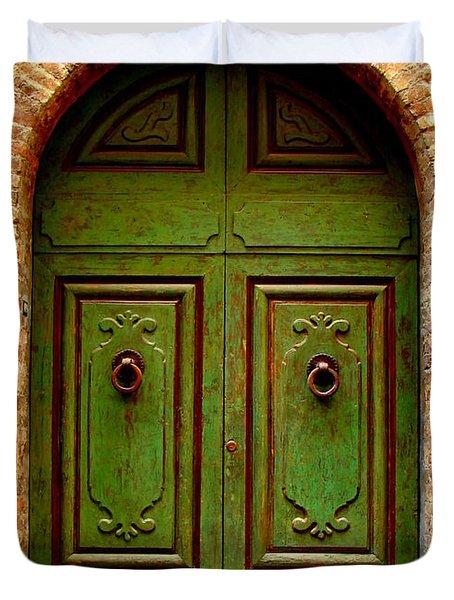 Green Door Duvet Cover by Ramona Johnston