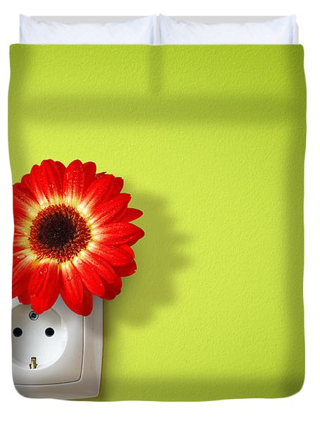 Green Electricity Duvet Cover by Carlos Caetano