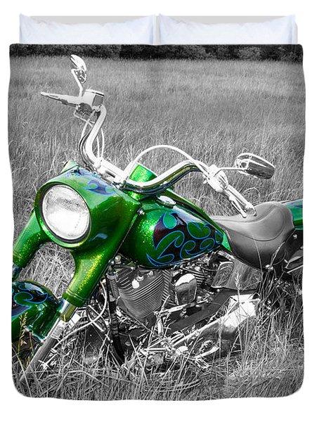 Green Fat Boy Duvet Cover by Guy Whiteley