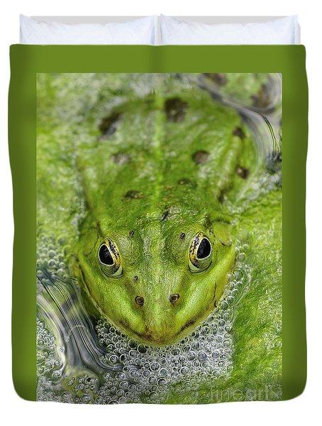 Green Frog Duvet Cover by Matthias Hauser