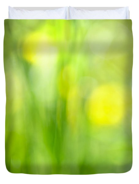 Green grass with yellow flowers abstract Duvet Cover by Elena Elisseeva