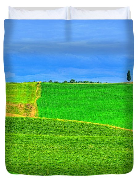 Green Green Grass Of Home Duvet Cover by Midori Chan