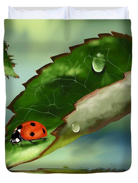 Green Leaf Duvet Cover by Veronica Minozzi