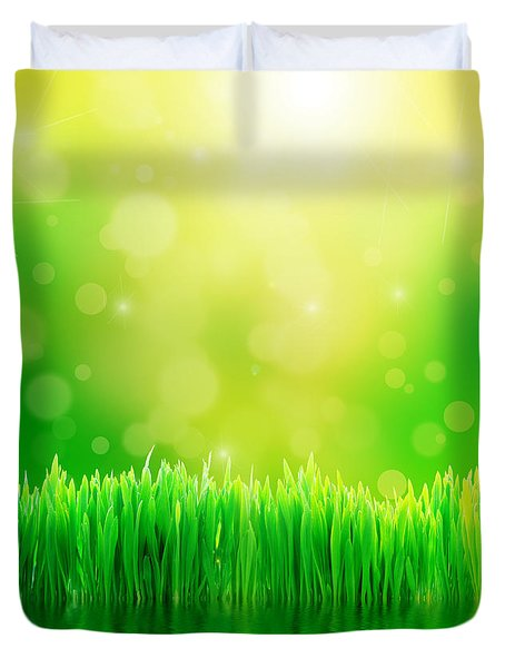 Green Nature Background With Fresh Grass Duvet Cover by Michal Bednarek