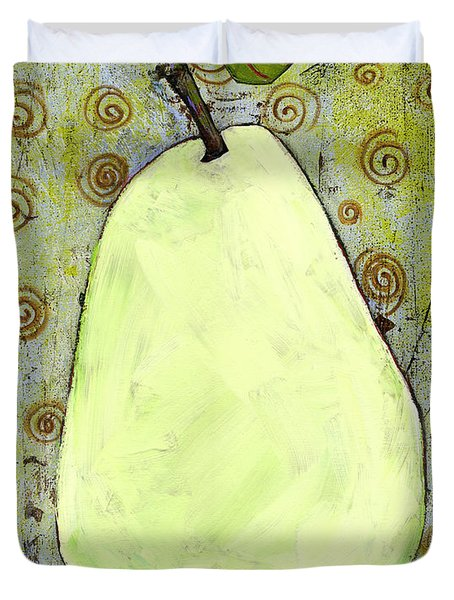 Green Pear Art With Swirls Duvet Cover by Blenda Studio