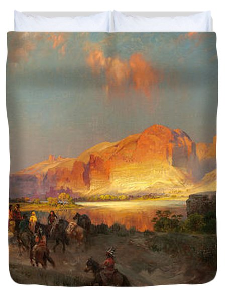 Green River Cliffs Wyoming Duvet Cover by Thomas Moran