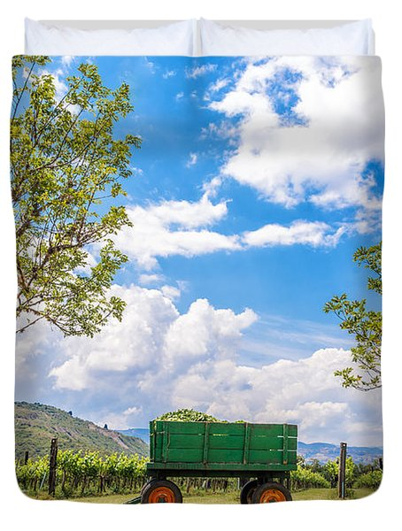 Green Wagon and Vineyard Duvet Cover by Jess Kraft